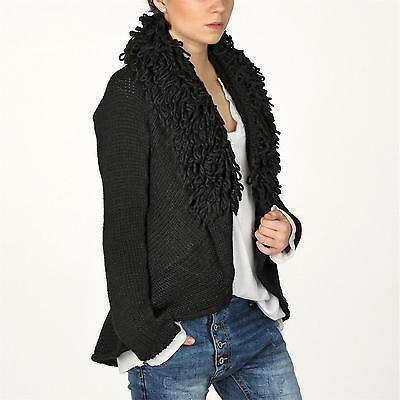 VALE Italy Damen Jacke Strickjacke Loop Kragen Cardigan ALPAKA 38 40 schwarz online kaufen