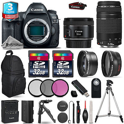Canon EOS 5D Mark IV Camera + 50mm 1.8 + 75-300mm III + 3PC Separate +2yr Warranty