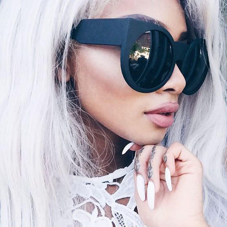 Round Cat Eye Oversized Sunglasses Thick Vintage Style Frame Women Fashion