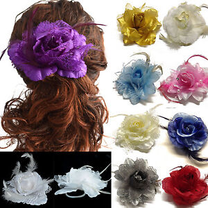 Floral-Flower-Wedding-Rose-Hair-Elastic-Bobble-Clip-Brooch-Bridesmaid
