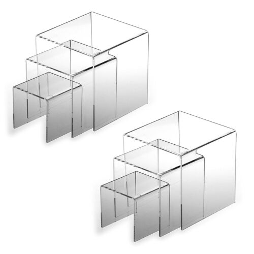 """2pk Clear Acrylic Riser 3"""", 4"""", 5"""" Product Display Case retail Stands  Set of 3"""