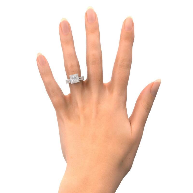 2.5 Ct Princess Cut Diamond Engagement Ring 14k White Gold Wedding Set