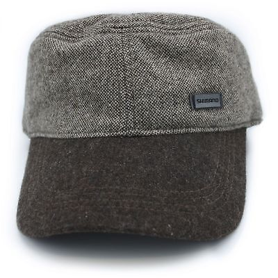 Shimano Tweed Work Cap grau/braun Military Army Flat Cap Wolle