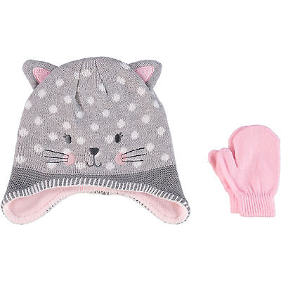 LITTLE ME Girls Kids Grey Spotted Cat Fleece Lined Hat & Mittens 1-2 years