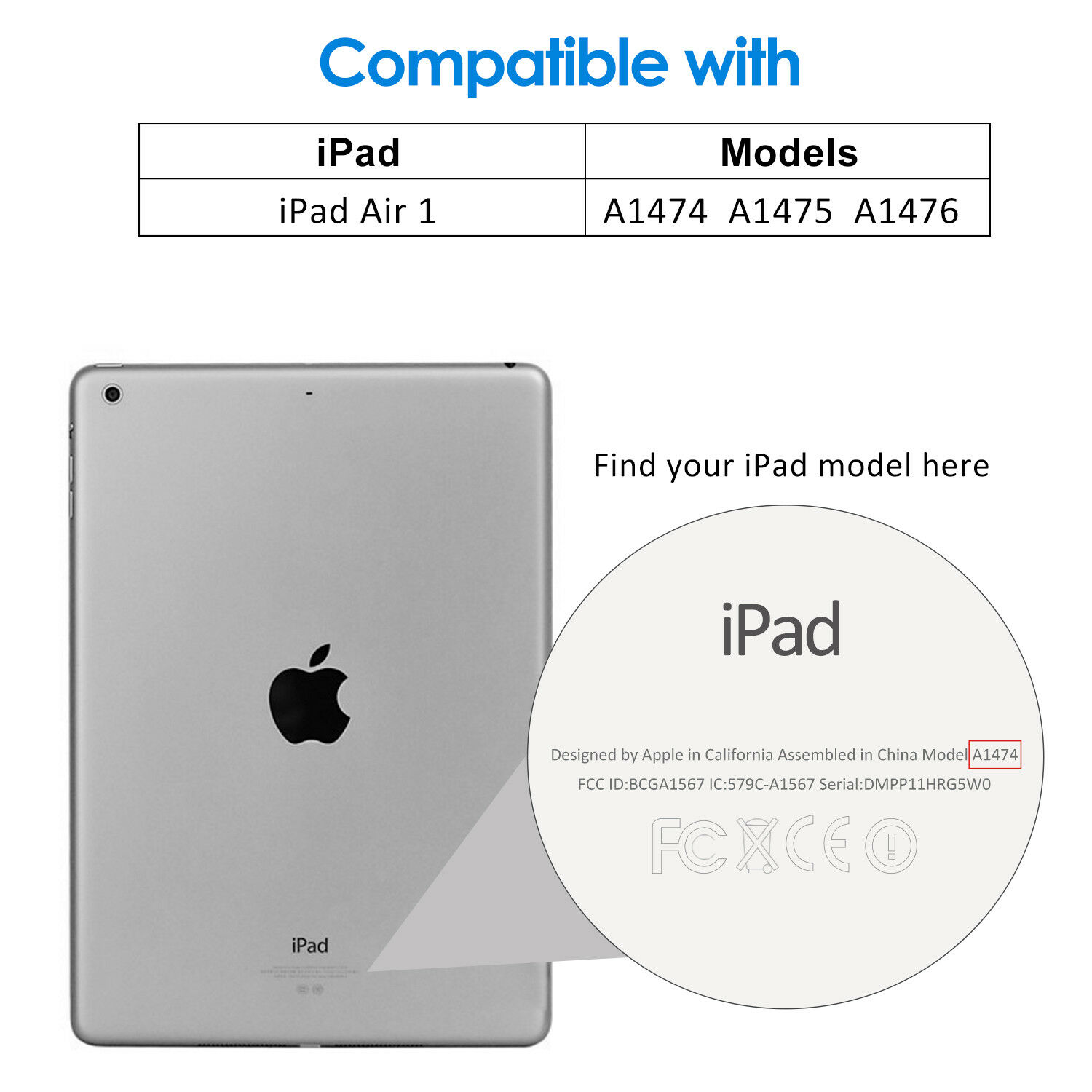 Купить JETech Case for Apple iPad Air 2 and iPad Air 1 Smart Cover with Auto Sleep/Wake