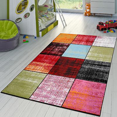 Teppich Karo Rot Schwarz Grau Grün Pink Meliert Modern Wohnzimmer Kinderzimmer - Pink Schwarz Karo