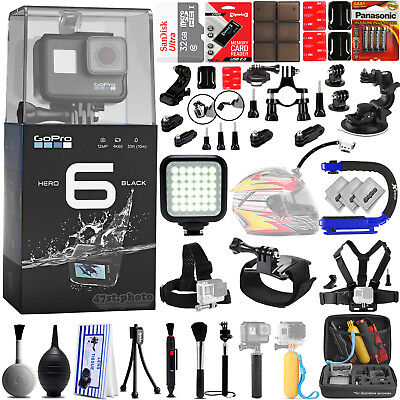 GoPro Hero 6 Hero6 12MP Digital Camera w/ 32GB - 38PC Sport Action Bundle