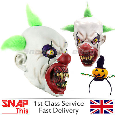 Clown Mask Hair Red Nose Cosplay Latex Face Horror Adult Halloween Party IT - Latex Clown Nose