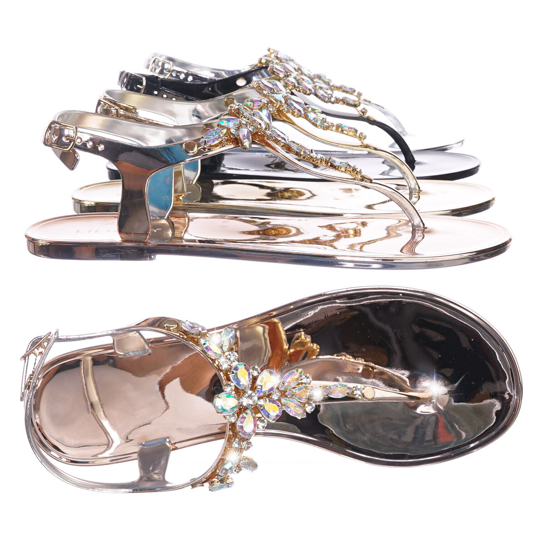Jelli45 Rhinestone Crystal Thong Sandal -Women Metallic Ankle Strap Summer Flats