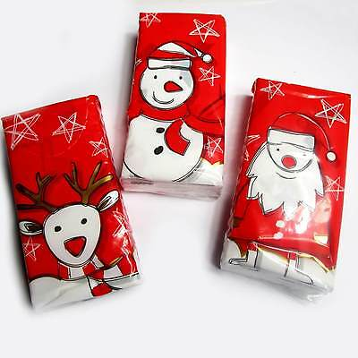 3 Päckchen Weihnachten Taschentücher á 9 Taschentuch weisse bunt bedruckt NEU