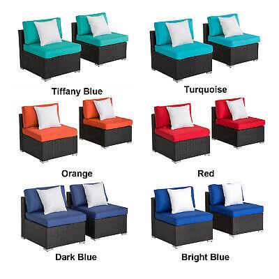 2PC PE Rattan Wicker Sofa Set Cushion Outdoor Patio Sofa Couch Furniture Rattan Furniture Center