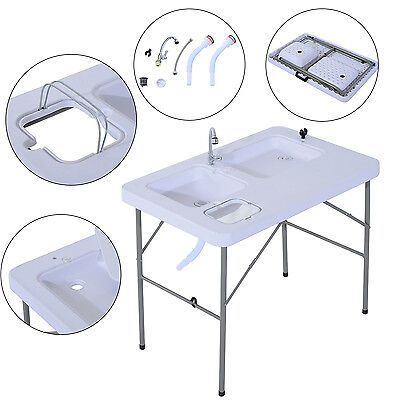 Outsunny Portable Fish Table Cleaning Cutting Camping Foldable w/ Faucet & Sink