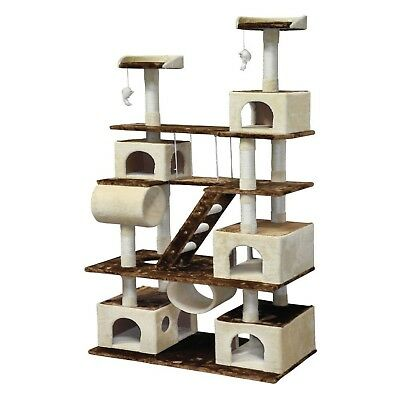 "Go Pet Club F216 Brown/Beige Wood Huge 87.5"" Cat Tree Condo House Furniture"