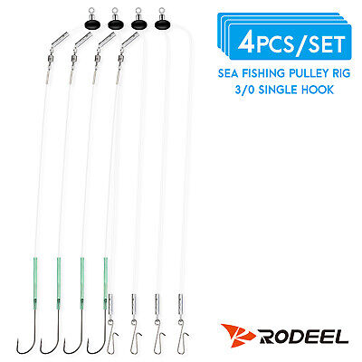 RODEEL 4pcs Single Hook Sea Fishing Rigs Pulley Rig Suit for Most Fish Species