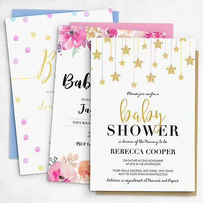 Personalised Baby Shower Invitations for Gender Neutral, Boy or Girl Themes #048](Baby Shower Theme For Boys)