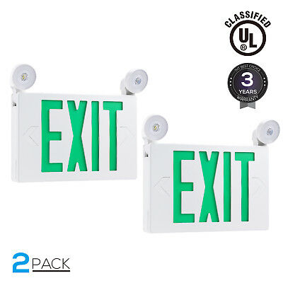 Green Led Exit Sign Ul-listed Emergency Light Ac 120v277v Battery Included
