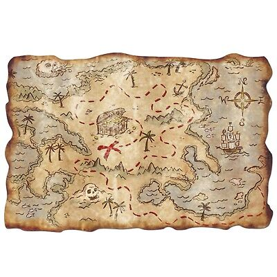 Pirate Treasure Map Plastic Kids Pirate Themed Party Decoration Antique Look - Pirate Themed Birthday Parties
