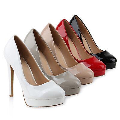 Damen Abiball Pumps High Heels Plateaupumps Lack Stiletto Elegante 818193 Schuhe Stiletto Pumps Schuhe