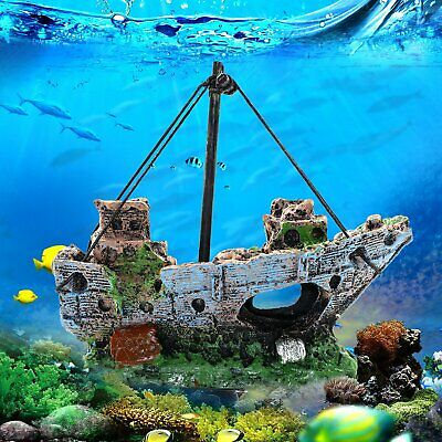 Aquarium Fish Tank Decoration Pirate Ship Boat Resin Plastic Plant Ornament  Aquarium Plastic Plant Fish Ornament