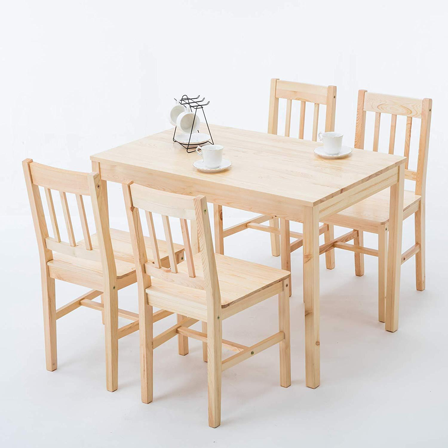 Natural dining table and 4 chairs pine wood set kitchen breakfast furniture