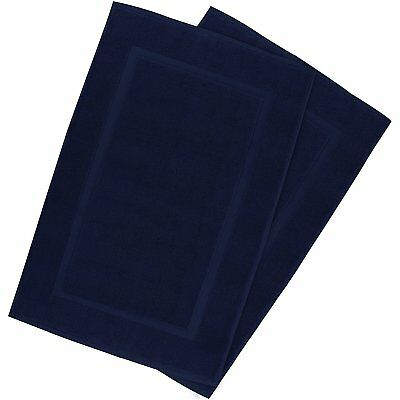 Luxury Cotton Hotel-Shower Bath Mat Floor Mat (2 Pack, Navy, 21 Inch by 34 Inch)