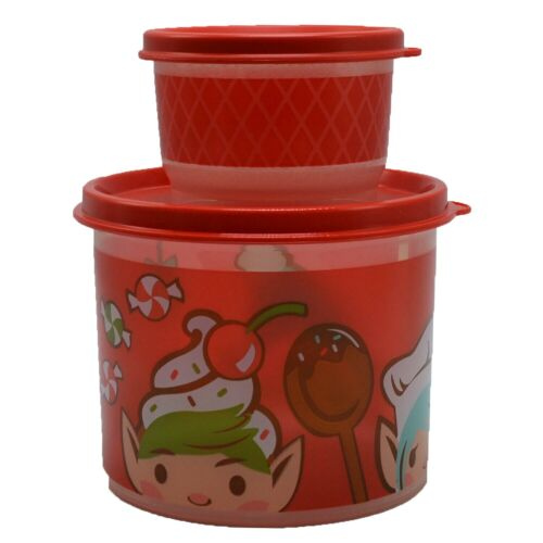 Tupperware Elf Christmas Holiday Mini Canister and Snack Cup Set of 2