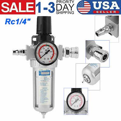 Rc14 Air Compressor Filter Oil Water Separator Trap Tool With Regulator Gauge
