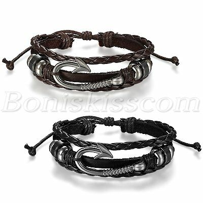 Fashion Handmade Multilayer Fish Hook Beaded Men Women Leather Bracelet - Beaded Fish Hook