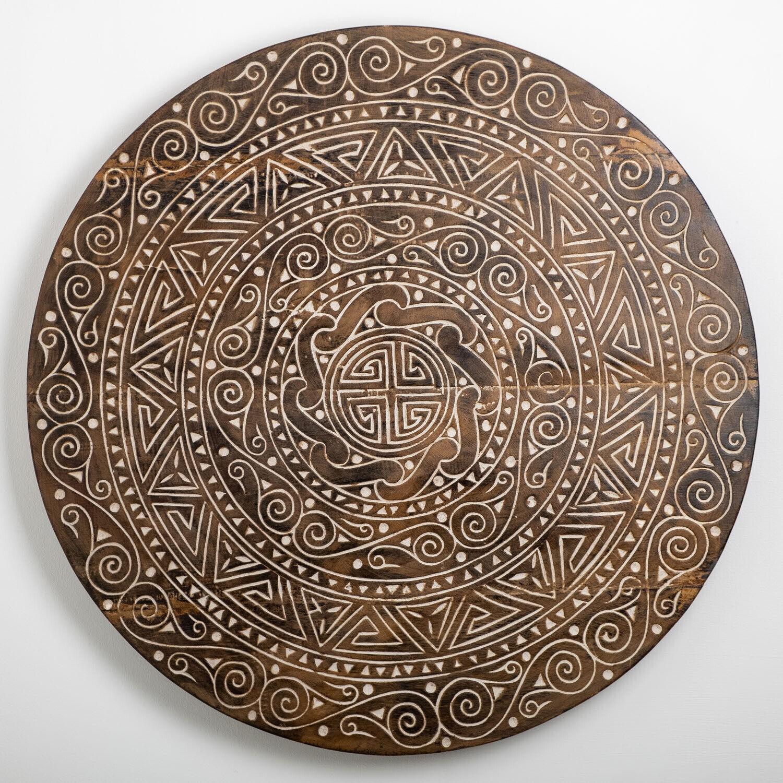 WOHNFREUDEN Wanddekoration Maya aus Suar-Holz verschiedene Größen Wand-Bild