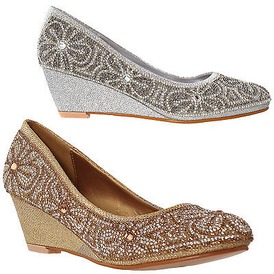 Pumps Dress Shoes Slip On Wedge Floral Print Rhinestone Women's Gold Shoes