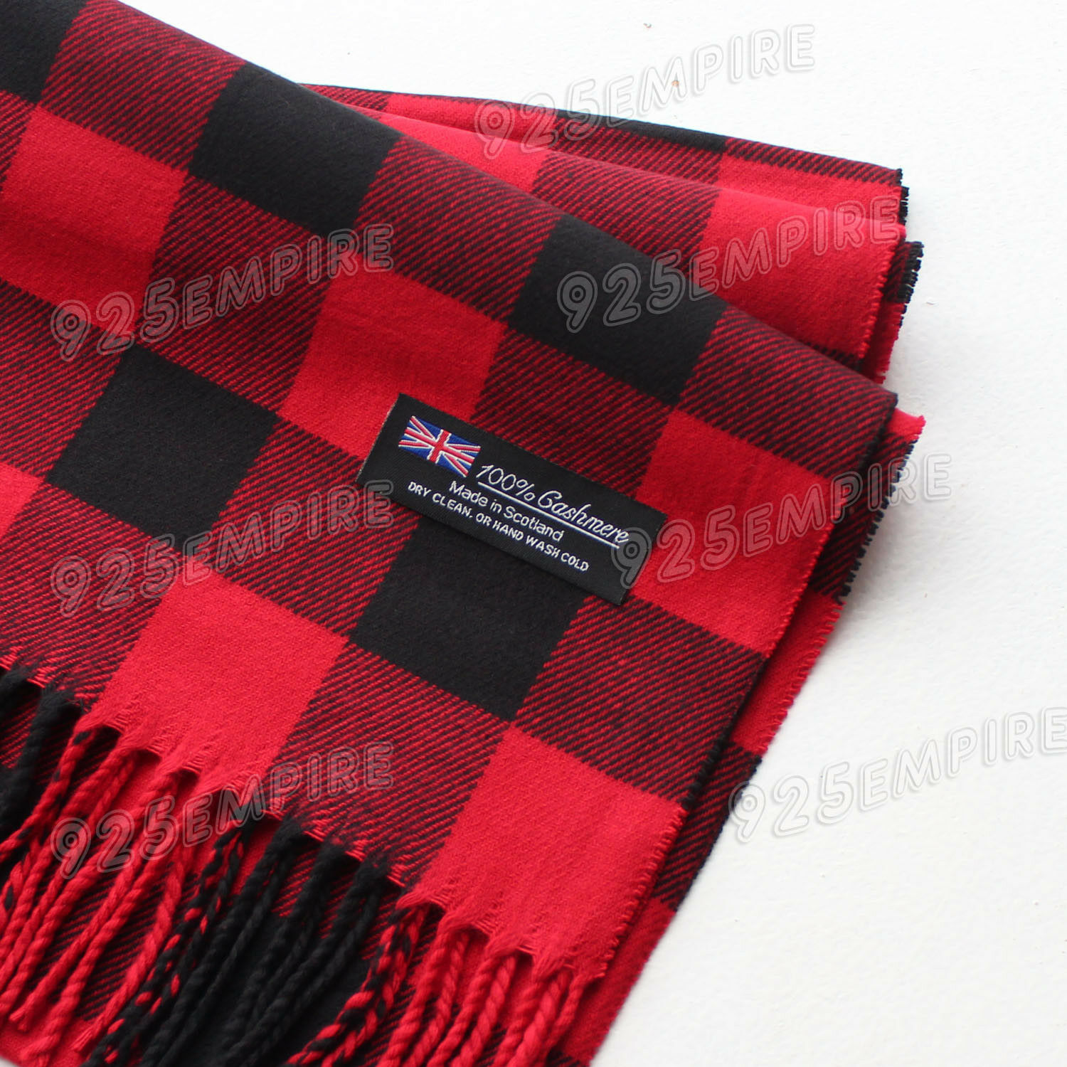 Scarf - Women 100% CASHMERE Red/Black Square check tartan Plaid Scarf MADE IN SCOTLAND