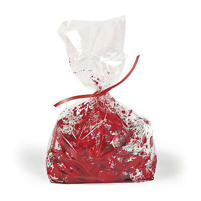 12 Bloody Cellophane Bags Treats Candy Vampire Halloween Birthday Party Event