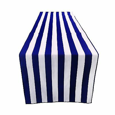 lovemyfabric Poly Cotton 1 Inch Navy & White Striped Table Runner 12