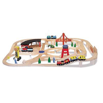Melissa Doug Deluxe Wood (Melissa & Doug Deluxe Wooden Railway Train Set (130+ pcs) Brand)