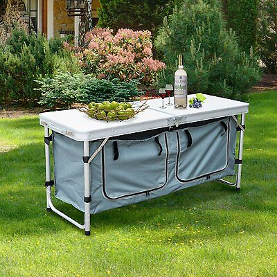 Outsunny Aluminum Garden Camping Picnic Table Folding Portable Storage Box Patio