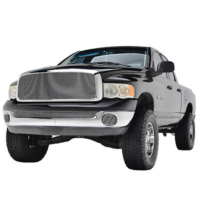 - 02-05 Dodge Ram 1500 Upper Grille with ABS Shell Chrome Aluminum Billet Grill