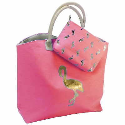 Groß Flamingo (XL Strandtasche Kulturtasche Set 53x40cm Flamingo Rosa Pink Badetasche Shopper)