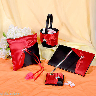 GB20 Guest Book Pen Basket Ring Pillow Collection Set ()