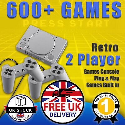 Mini Retro Games Console Playstation 600+ Built-In Games PS1 Style * UK *