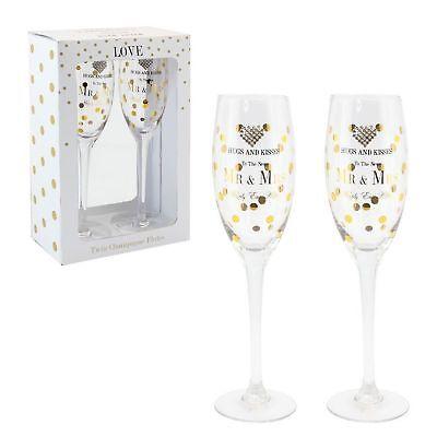 Mr And Mrs Flutes Set Of 2 Gift Set Mad Dots Lesser & Pavey Heart Design