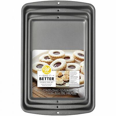 Non-Stick Wilton Bake It Better 3-Piece Cookie Sheet Pan Set For Kitchen