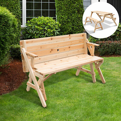 Outsunny Fir Wood 2 in 1 Convertible Picnic Table & Garden Bench Portable Convertible Picnic Table Bench