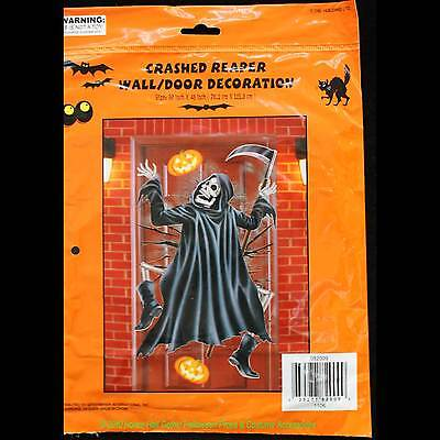 Funny Halloween CRASHED GRIM REAPER DOOR COVER Wall Mural Party Prop Decoration (Halloween Banner Funny)