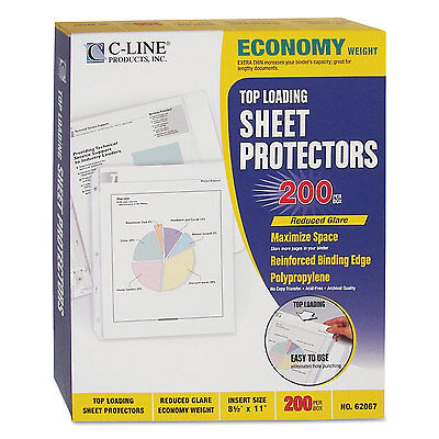 C-line Economy Weight Poly Sheet Protector Reduced Glare 2 11 X 8 12 200bx