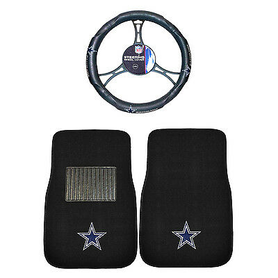 Football 3 Pc. Dallas Cowboys Floor Mats & Steering Wheel Cover Combo