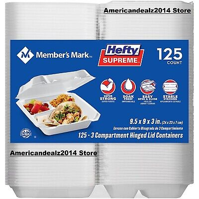 Members Mark 3-compartment Foam Hinged Lid Container By Hefty 125 Ct.