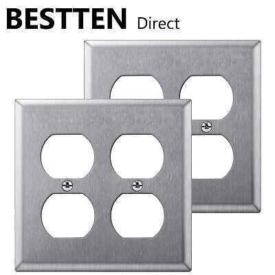 2PK BESTTEN 2 Gang Duplex Stainless Steel Wall Plate Metal Outlet Cover UL
