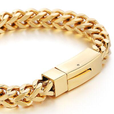 MENDINO Heavy Men's Stainless Steel Bracelet Square Wheat Chain Bangle Gold 8mm