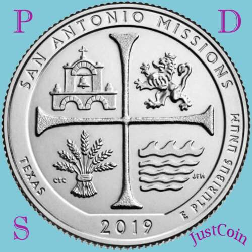 2019 PDS SAN ANTONIO MISSIONS (TX) NATIONAL PARK THREE UNCIRCULATED QUARTERS