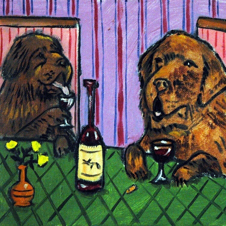 irish wolfhound at the wine bar DOG art print 11x14